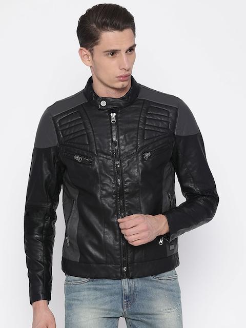 Ed Hardy Men Black Solid Biker Jacket