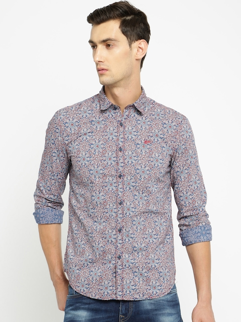 Ed Hardy Men Blue & Maroon Printed Casual Shirt