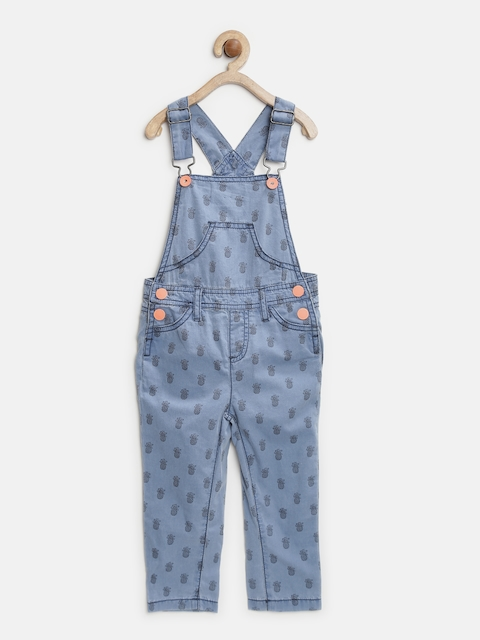 United Colors of Benetton Girls Blue Printed Dungarees