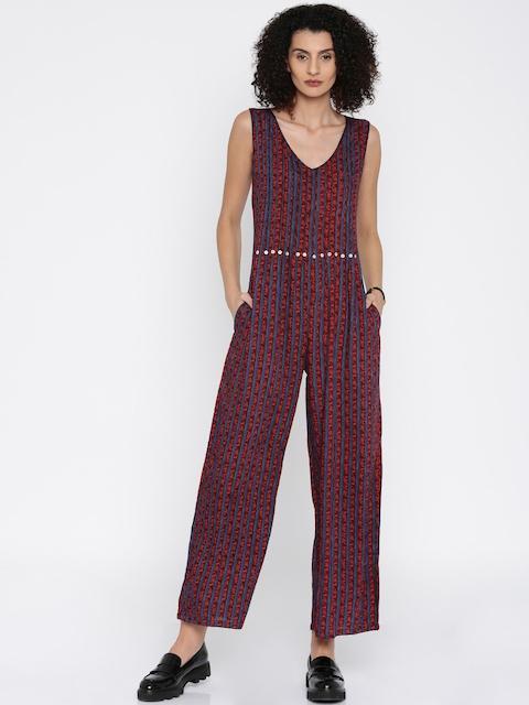 Global Desi Red & Blue Striped Jumpsuit