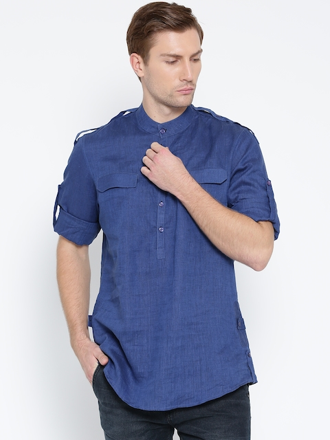 Wills Lifestyle Men Blue Solid Linen Casual Shirt