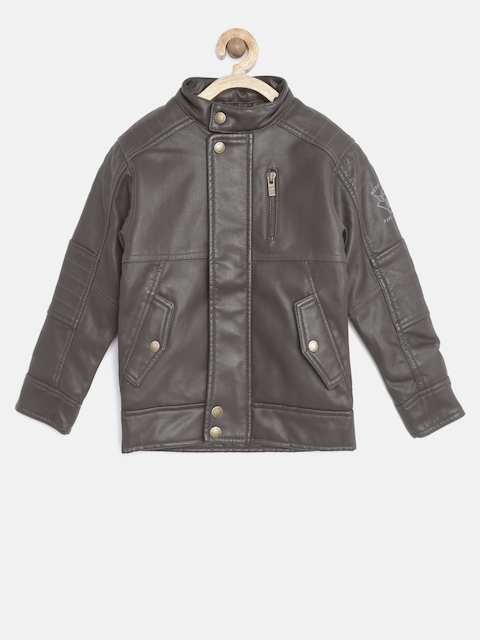 Pepe Jeans Boys Brown Faux Leather Biker Jacket