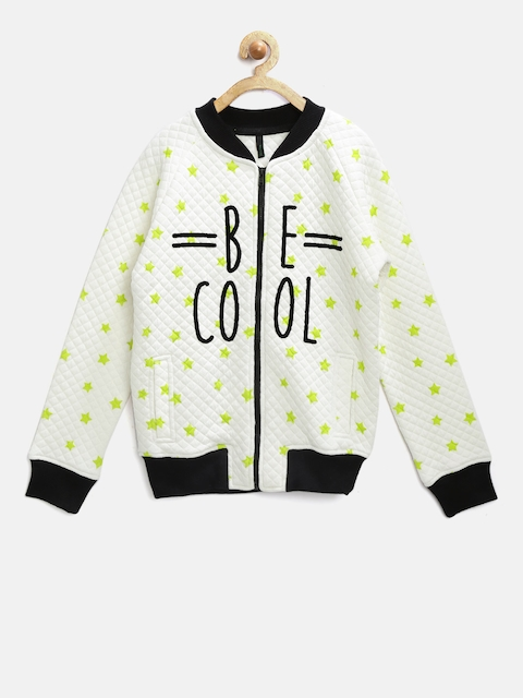 United Colors of Benetton Girls White Printed Quilted Sweatshirt