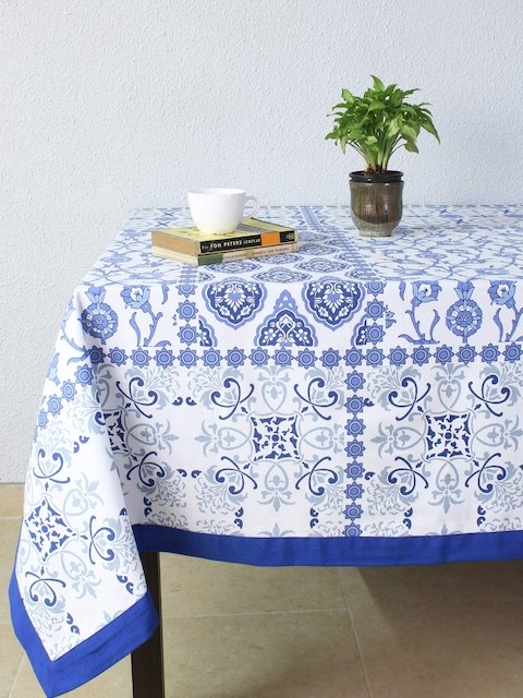 House This Blue & White Rectangular Printed 60 x 110 Cotton Table Cover