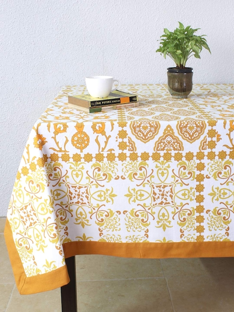 House This Brown & White Rectangular Printed 60 x 92 Cotton Table Cover