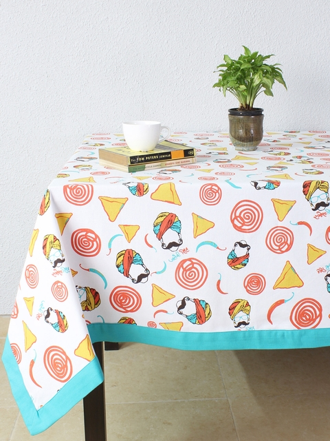 House This Multicoloured Square Printed 60 x 60 Cotton Table Cover