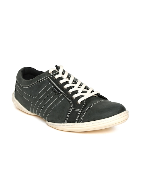 Red Tape Men Charcoal Grey Leather Sneakers