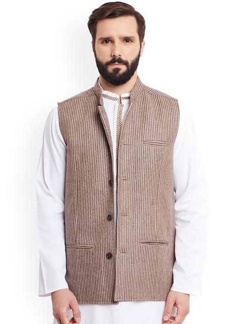 even Beige Patterned Woollen Nehru Jacket