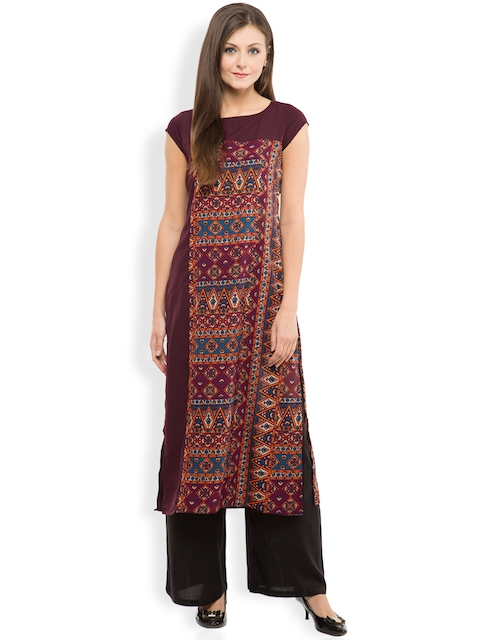 Vishudh Women Maroon Printed Straight Kurta  available at myntra for Rs.399