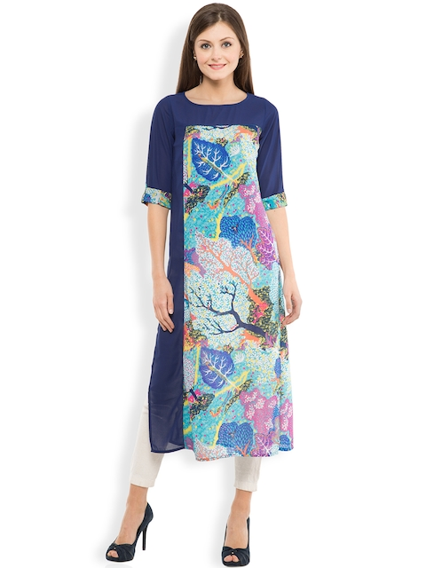 Vishudh Women Blue Printed Straight Kurta  available at myntra for Rs.399