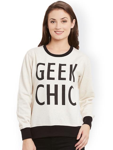 TAB91 Beige & Black Printed Sweatshirt