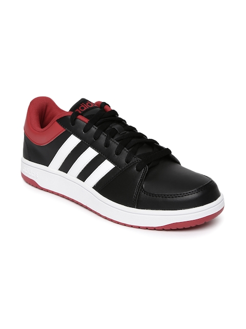 Adidas NEO Men Black Solid HOOPS VS Leather Sneakers