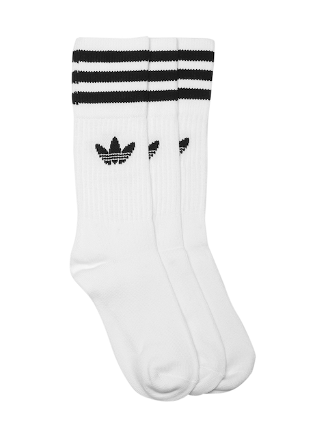 Adidas Originals Unisex Set of 3 White & Black Solid Crew Above Ankle-Length Socks