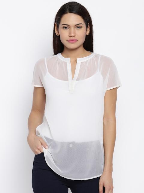 Park Avenue Women White Solid Shirt Style Top