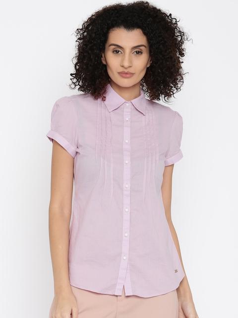 Park Avenue Women Purple Self-Design Shirt Style Top