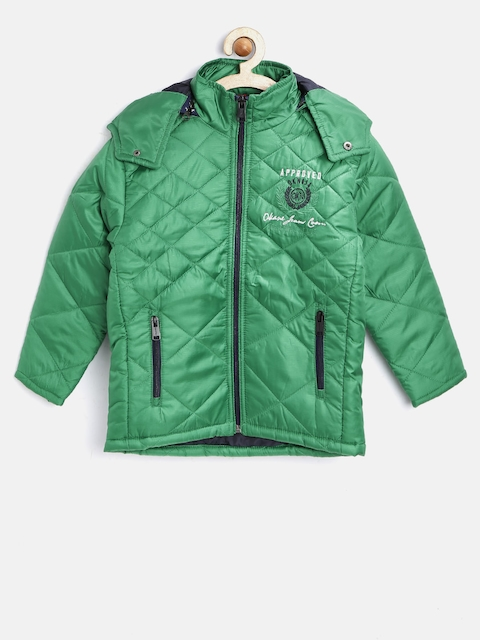Oakane Boys Green Quilted Jacket with Detachable Hood