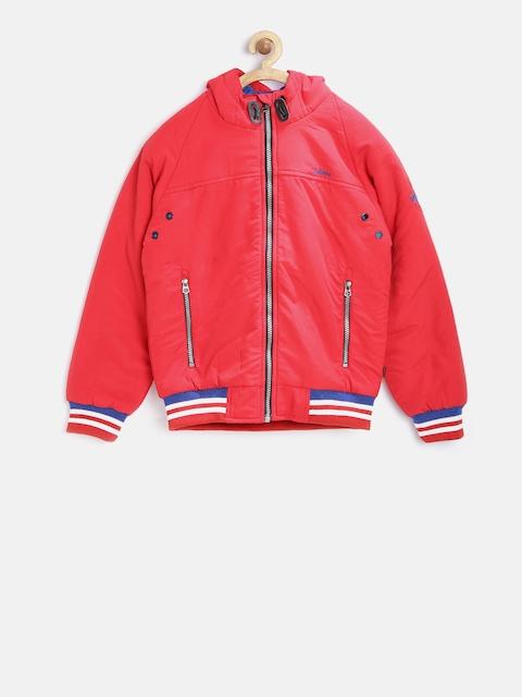 Okane Boys Red Hooded Bomber Jacket