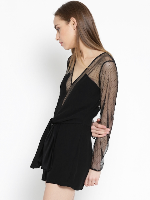 MANGO Black Net Panelled Playsuit
