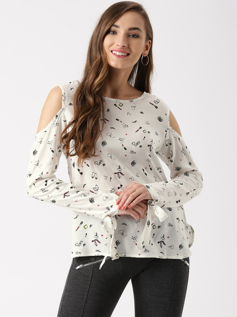 Marie Claire Women White Printed Cold Shoulder Top