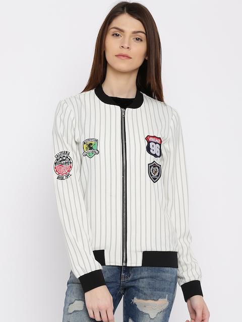 ONLY Off-White & Black Striped Bomber Jacket