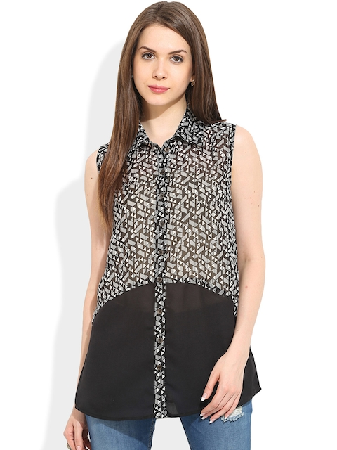 TRENDY DIVVA Women Black Standard Fit Printed Sheer Casual Shirt  available at myntra for Rs.279