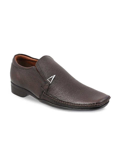 Metro Men Brown Leather Semiformal Shoes