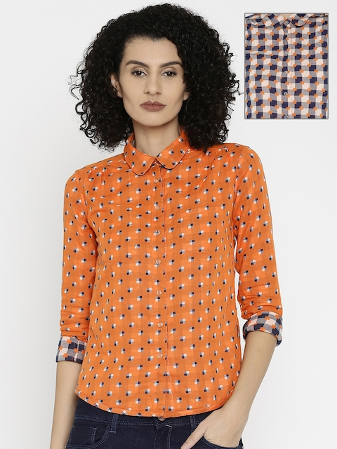 Wrangler Women Orange & Navy Reversible Shirt