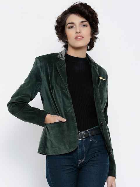 Numero Uno Green Single-Breasted Velvet Finish Casual Blazer