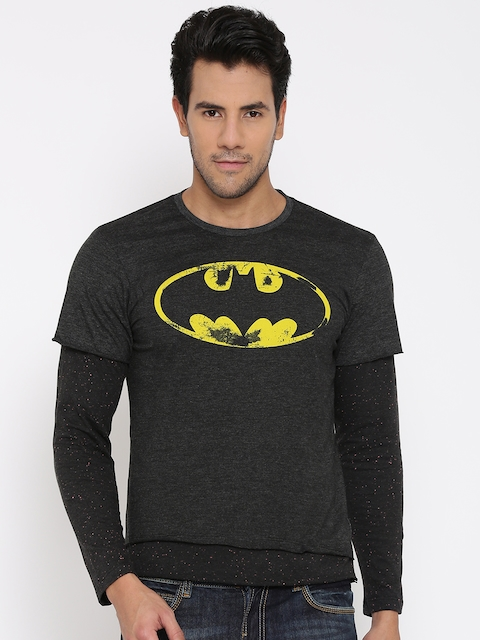 Batman Men Charcoal Grey Printed Round Neck T-shirt