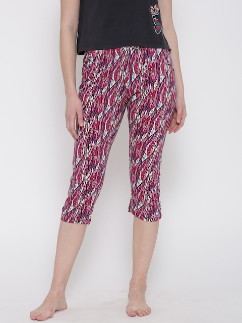 SDL by Sweet Dreams Pink & White Printed Lounge Capris F-LLC-601