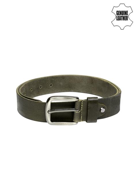 Harvard Men Olive Green Textured Genuine Leather Belt