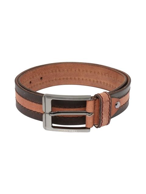 Harvard Men Brown Striped Handmade Leather Belt