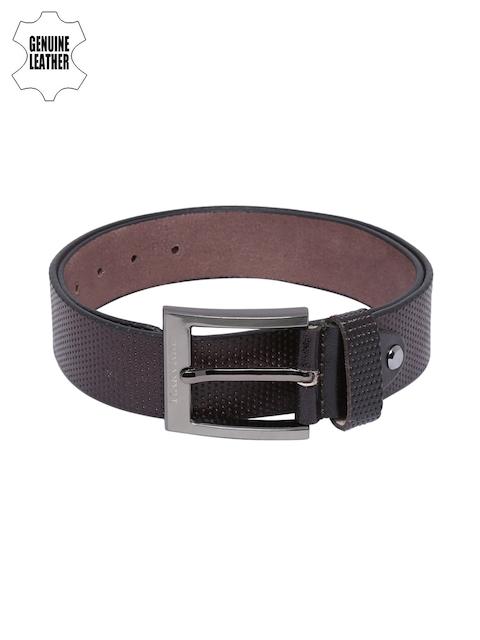 Harvard Men Dark Brown Perforated Genuine Leather Belt