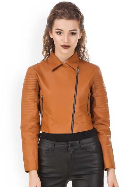 Texco Tan Brown Leather Crop Biker Jacket