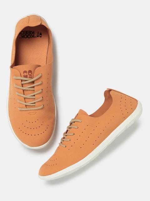 Kook N Keech Women Orange Perforated Regular Sneakers