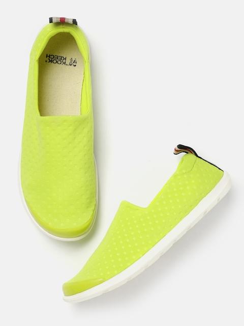 Kook N Keech Women Fluorescent Green Slip-On Sneakers