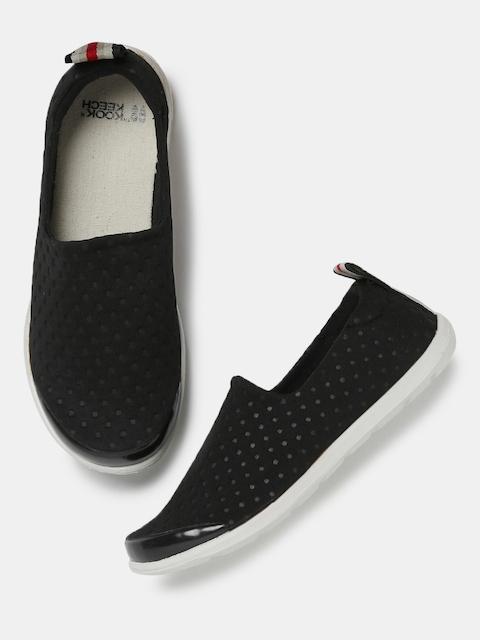 Kook N Keech Women Black Textured Regular Slip-On Sneakers