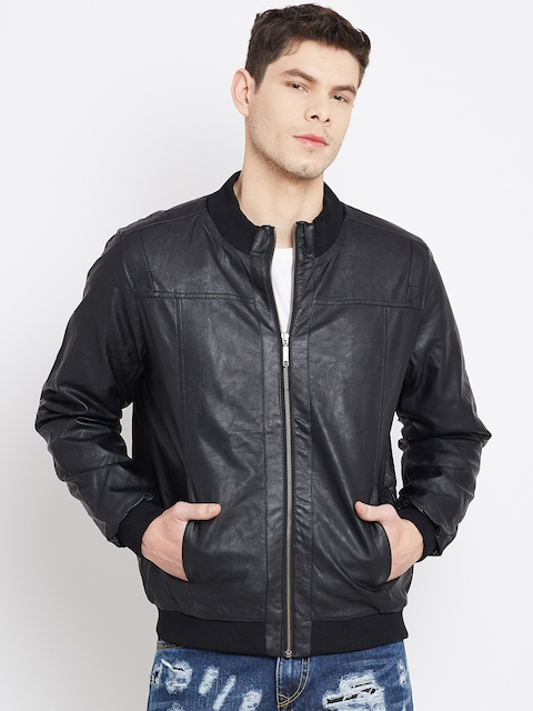 John Players Black Faux Leather Bomber Jacket