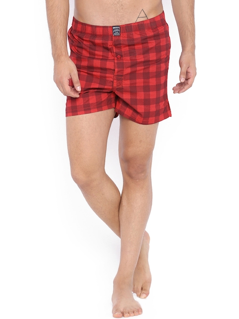 Blue Saint Red Checked Boxers B1W16MAX0013