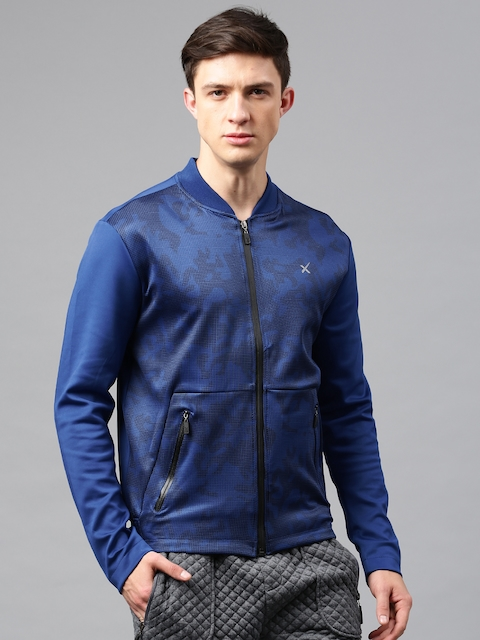 HRX by Hrithik Roshan Blue Printed Active Bomber RAPID-DRY Jacket