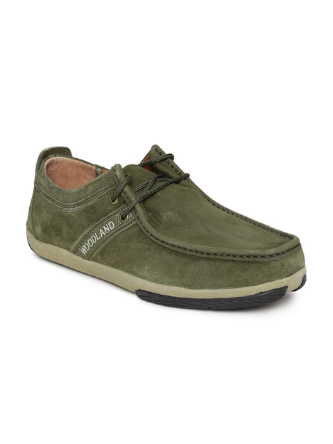 Woodland Men Olive Brown Leather Casual Shoes