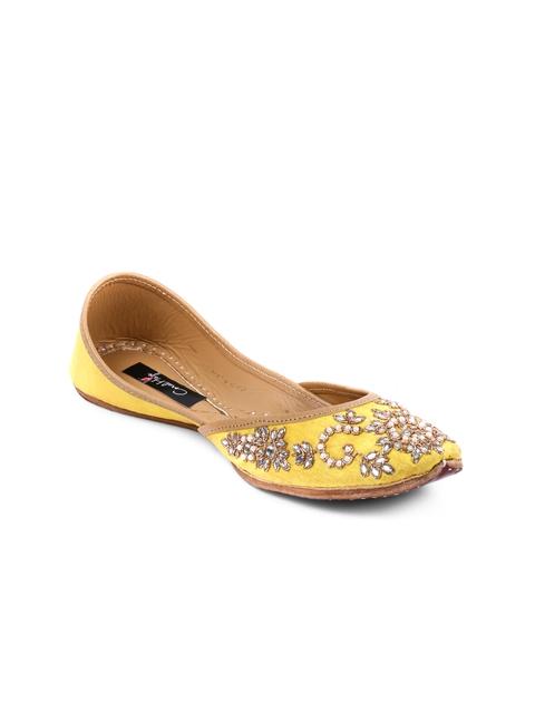 Coral Haze Women Yellow Handcrafted Silk Juttis