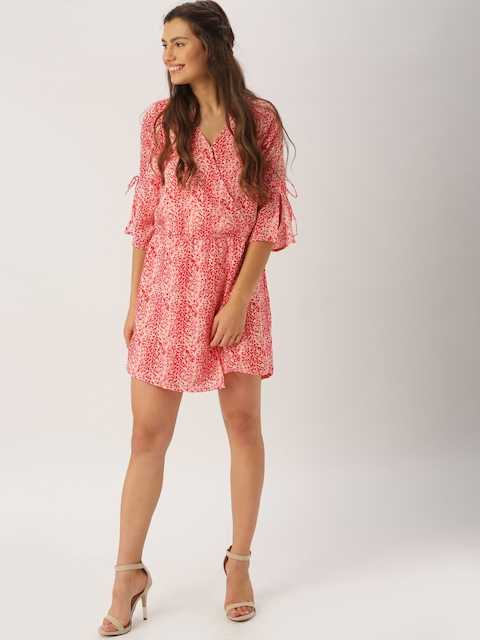 DressBerry Red & Pink Printed Romper