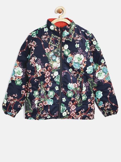 Tweens by Monte Carlo Girls Black & Orange Floral Print Reversible Jacket