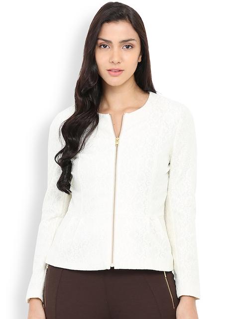Gipsy Off-White Patterned Peplum Jacket