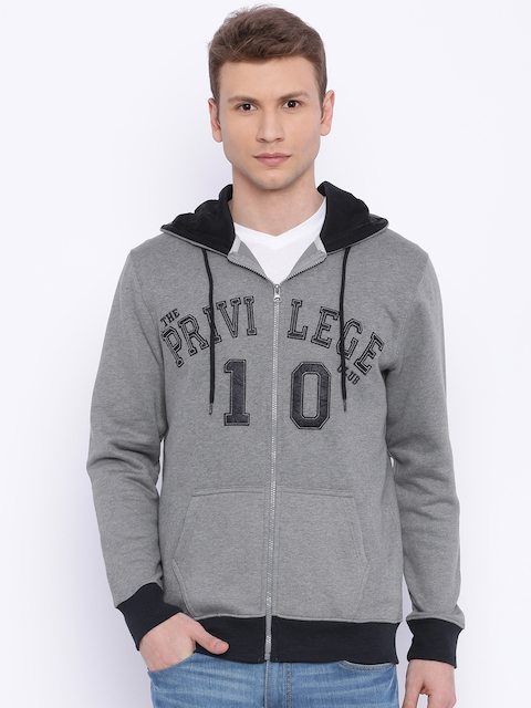 The Privilege Club Grey Melange Hooded Sweatshirt