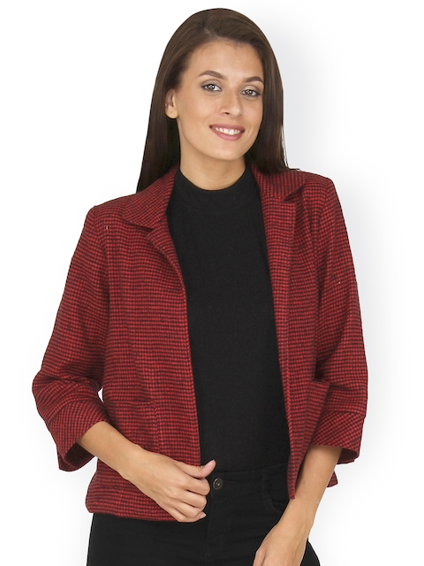 20Dresses Red & Black Houndstooth Pattern Front-Open Tailored Jacket