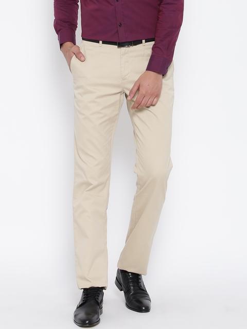 Blackberrys Men Beige Solid Sharp Fit Flat-Front Trousers