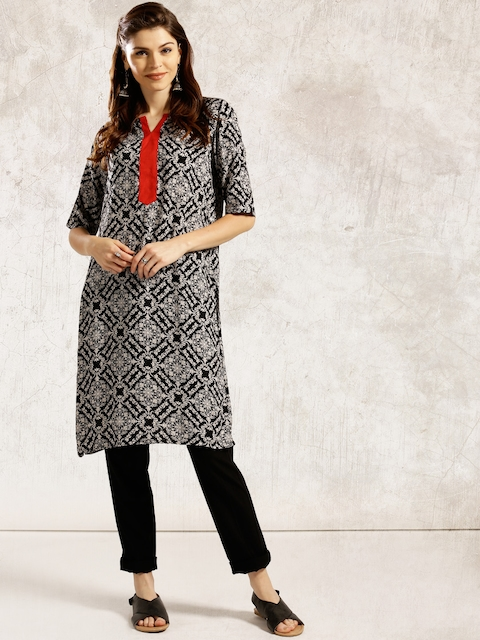 Anouk Women Black & White Printed A-Line Kurta