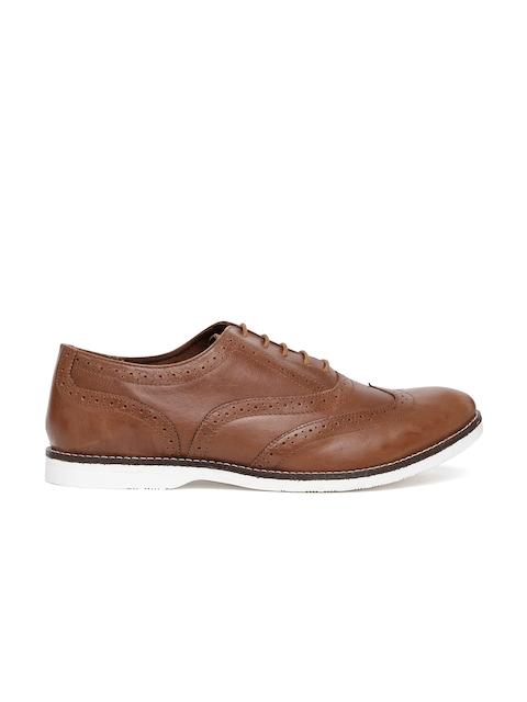 Carlton London Men Tan Brown Leather Brogues